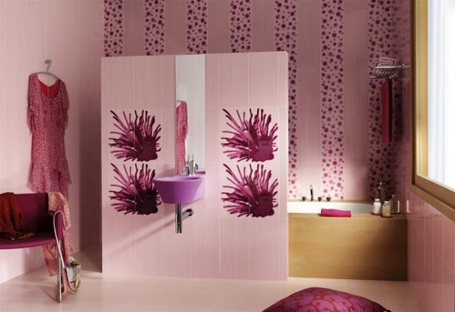 حمامات مجموعة تصميمات جذابة جداً  Purple-sink-white-floral-bathroom-665x456