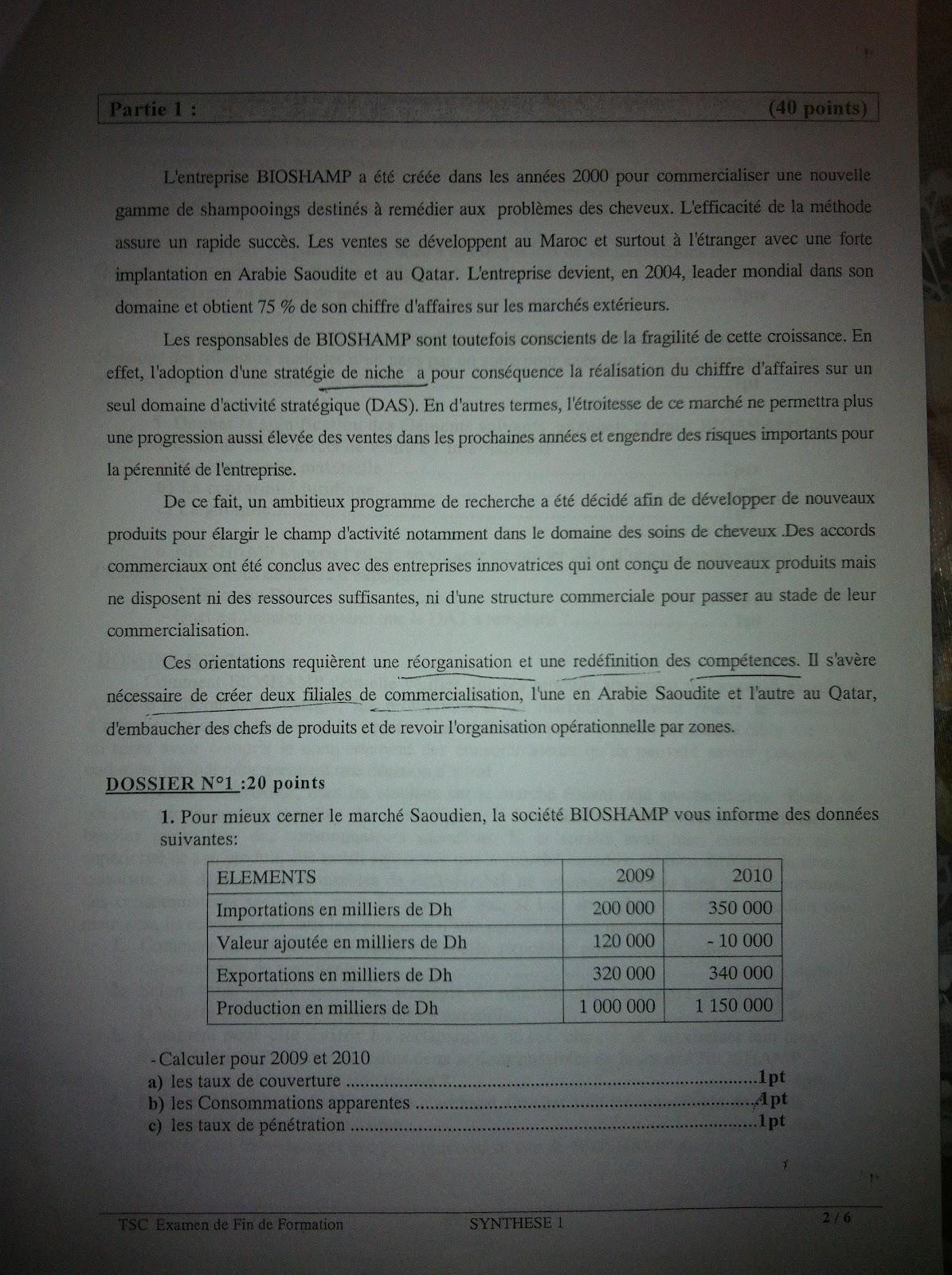 Examen de Fin de Formation Synthèse 2011 TSC 2