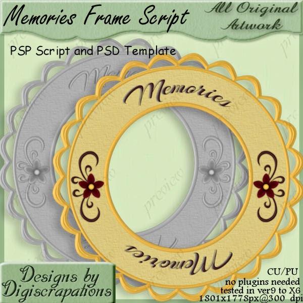 Memories Frame PSP Script and PSD Template  Digiscrapations_memoriesframeprv