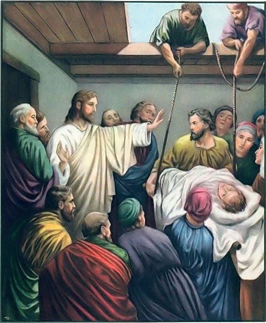 Pab xav txog lub ntsiab hauv tej zaj nyeem Jesus%2Bheals%2Bparalytic
