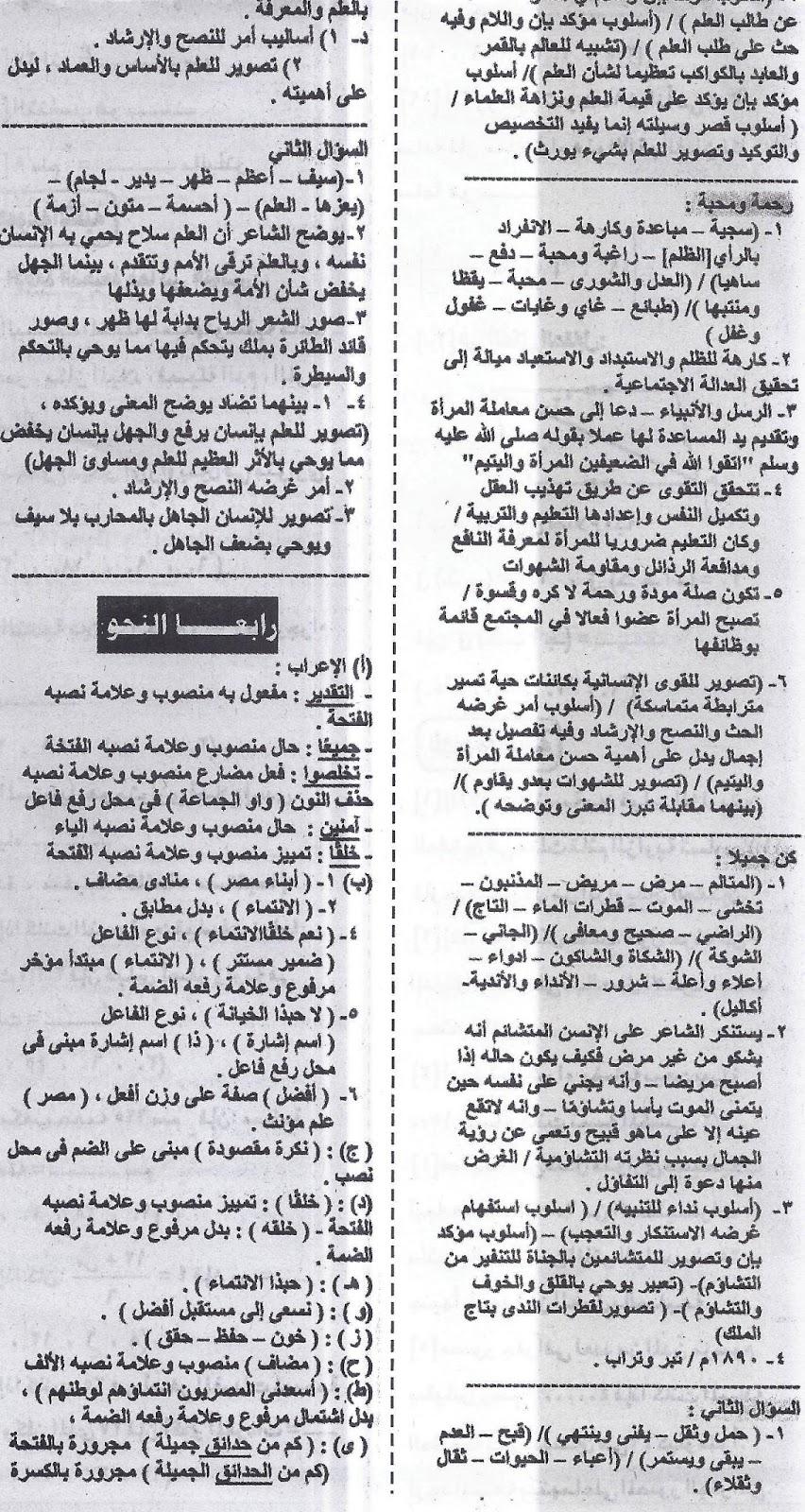 اهم توقعات خبراء الامتحانات فى اللغة العربية ... للشهادة الاعدادية - ملحق الجمهورية 16/1/2016 Scan0011