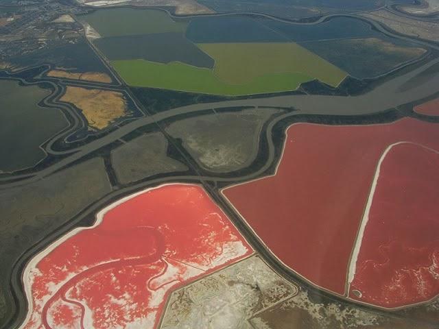 احواض الملح الملونة في خليج سان فرانسيسكو (بالتة الوان طبيعية)  9