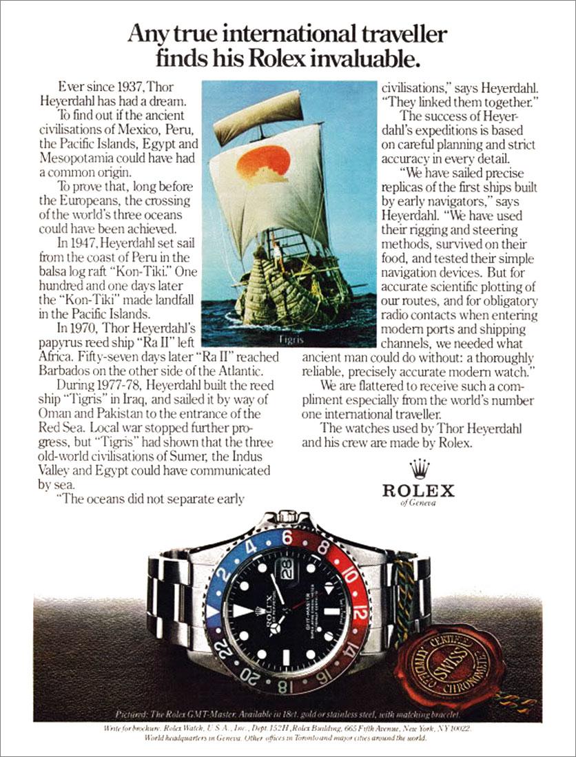 Le bistrot Vostok (pour papoter autour de la marque) - Page 17 Thor-Heyerdahl-Rolex-GMT-Ad