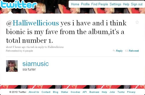 Sia dice bionic es mi favorito! en su twitter DownloadA