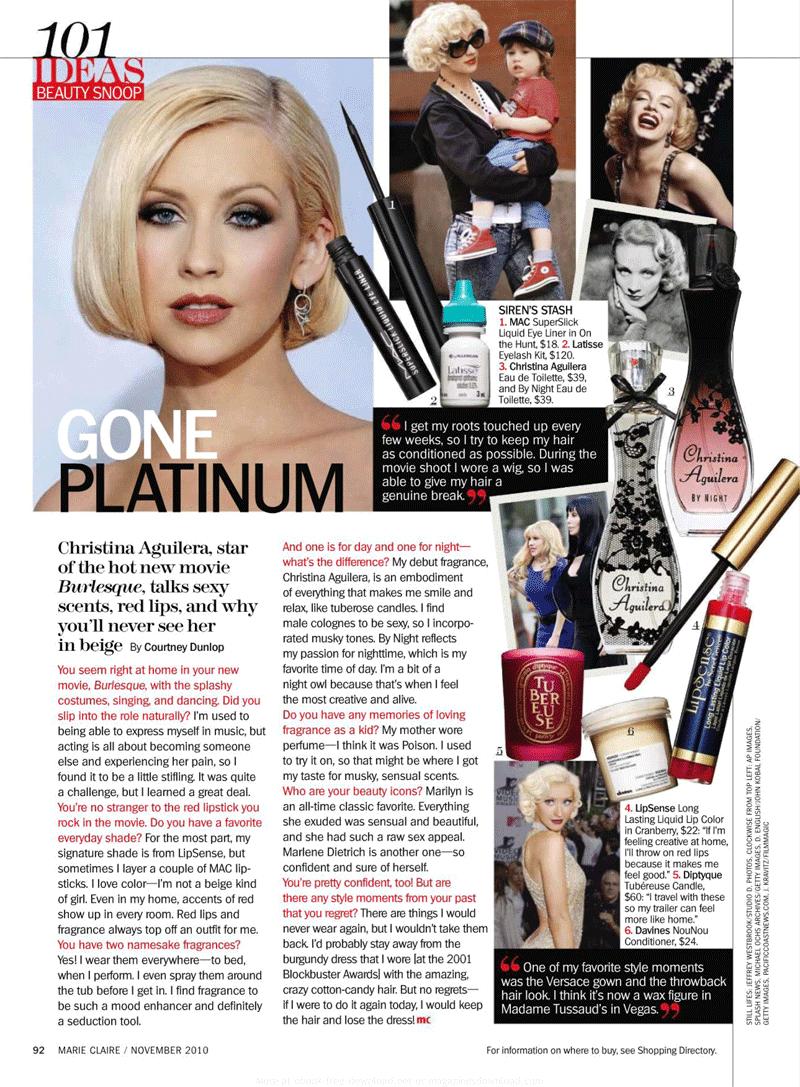 (Nylon Magazine) Christina Aguilera habla sobre sus looks. (+SCAN) Marieclaire201011nov93