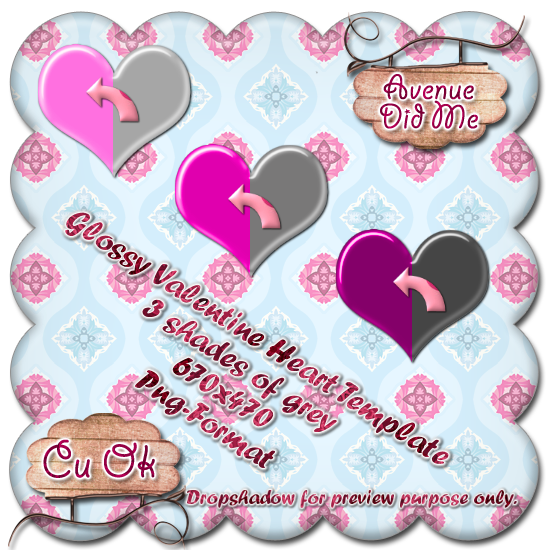 Glossy Hearts + Template GlossyHeartsTemplatePreview