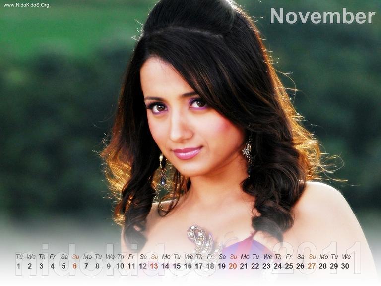 Trisha Krishnan Trisha-New-Year-Calendar-2011-Desktop-Calendar-November