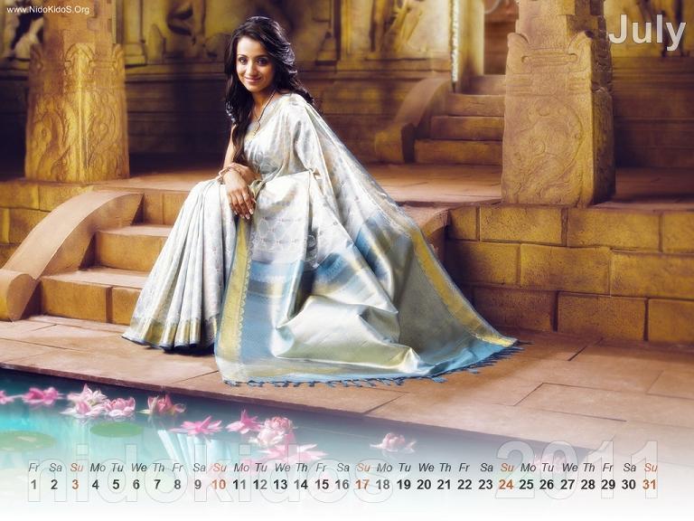 Trisha Krishnan Trisha-New-Year-Calendar-2011-Desktop-Calendar-July