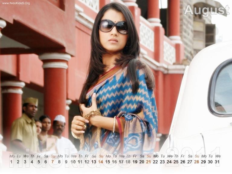 Trisha Krishnan Trisha-New-Year-Calendar-2011-Desktop-Calendar-August