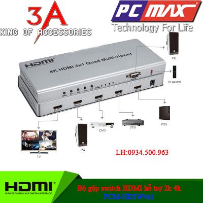 Bộ gộp HDMi 4 vào 1 ra trên 1 màn hình hỗ trợ 2k * 4k PCM-SW401K-Q B%E1%BB%99%20g%E1%BB%99p%20switch%20HDMi%204%20v%C3%A0o%201%20ra%20PCM-HDSW4x1
