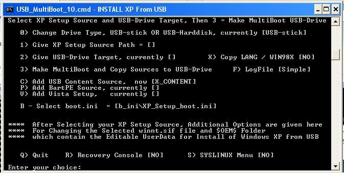 بتنصيب الفيستا او xp لكن لا يوجد لديك قارئة اقراص CD ROM Usbmulyiboot4