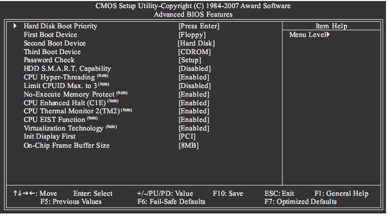 بتنصيب الفيستا او xp لكن لا يوجد لديك قارئة اقراص CD ROM Bios%20setup