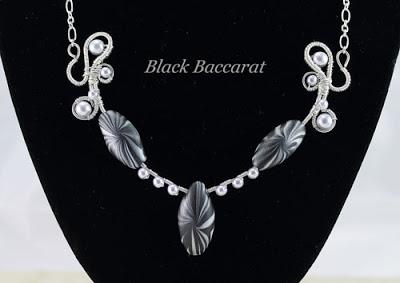 Collana in Rame argentato e perle di vetro cerato e pasta polimerica Collar-con-perle-vetro-cera