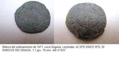 Blanca del ordenamiento de 1471 de Segovia de Enrique IV. Segovia Blanca_EnriqueIV_Segovia