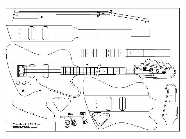 Blueprints e desenhos de headstock ThunderbirdIV