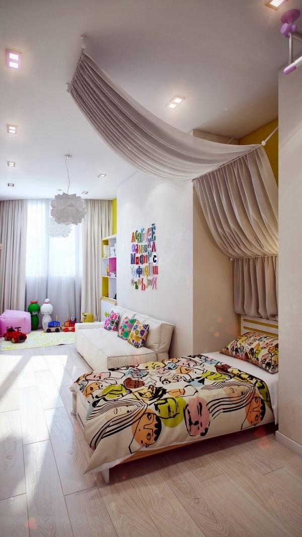 غرف نوم أطفال بألوان وتصميمات جميلة 13-Modern-white-kids-room-600x1066