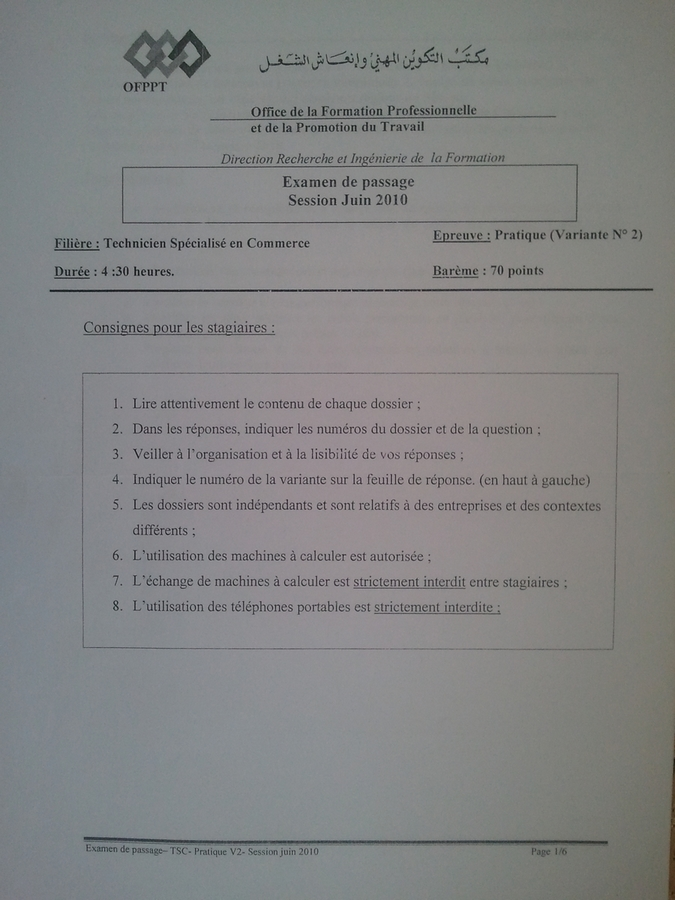 passage - Examen de Passage TSC Pratique et Théorique 2010 01