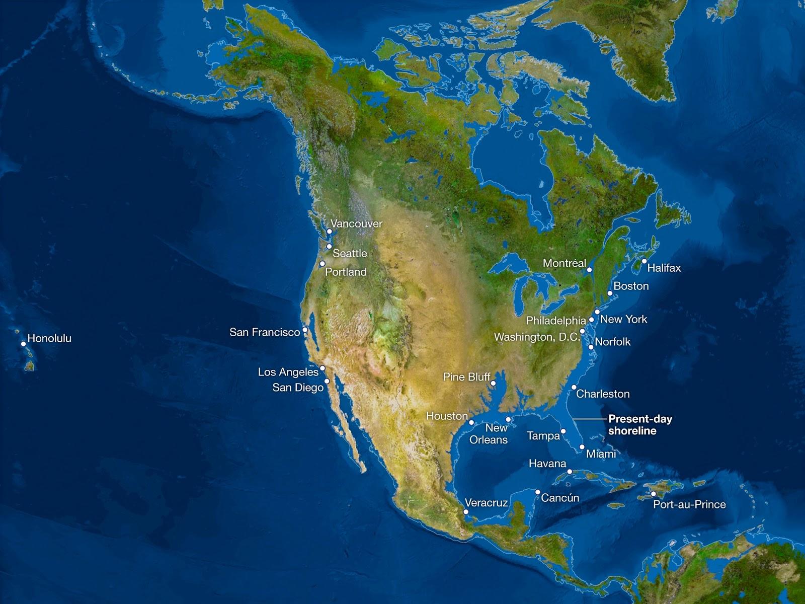 ¿Cómo sería la Tierra si todo el hielo se derritiera? Norteamerica-sin-hielo