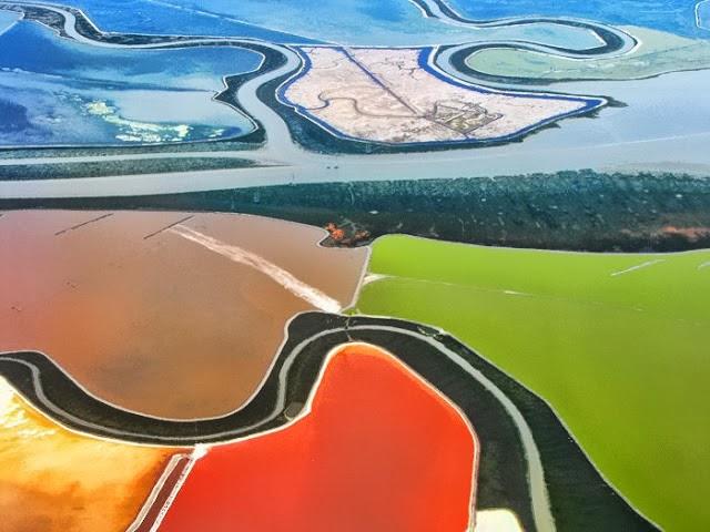 احواض الملح الملونة في خليج سان فرانسيسكو (بالتة الوان طبيعية)  5
