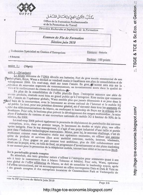 Examen De Fin De Formation TSGE 2010 Théorie  Capture
