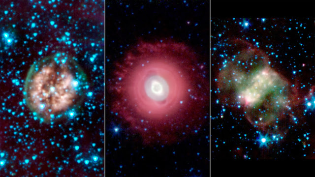 A ghostly trio from NASA's spitzer space telescope  Pia17552_1