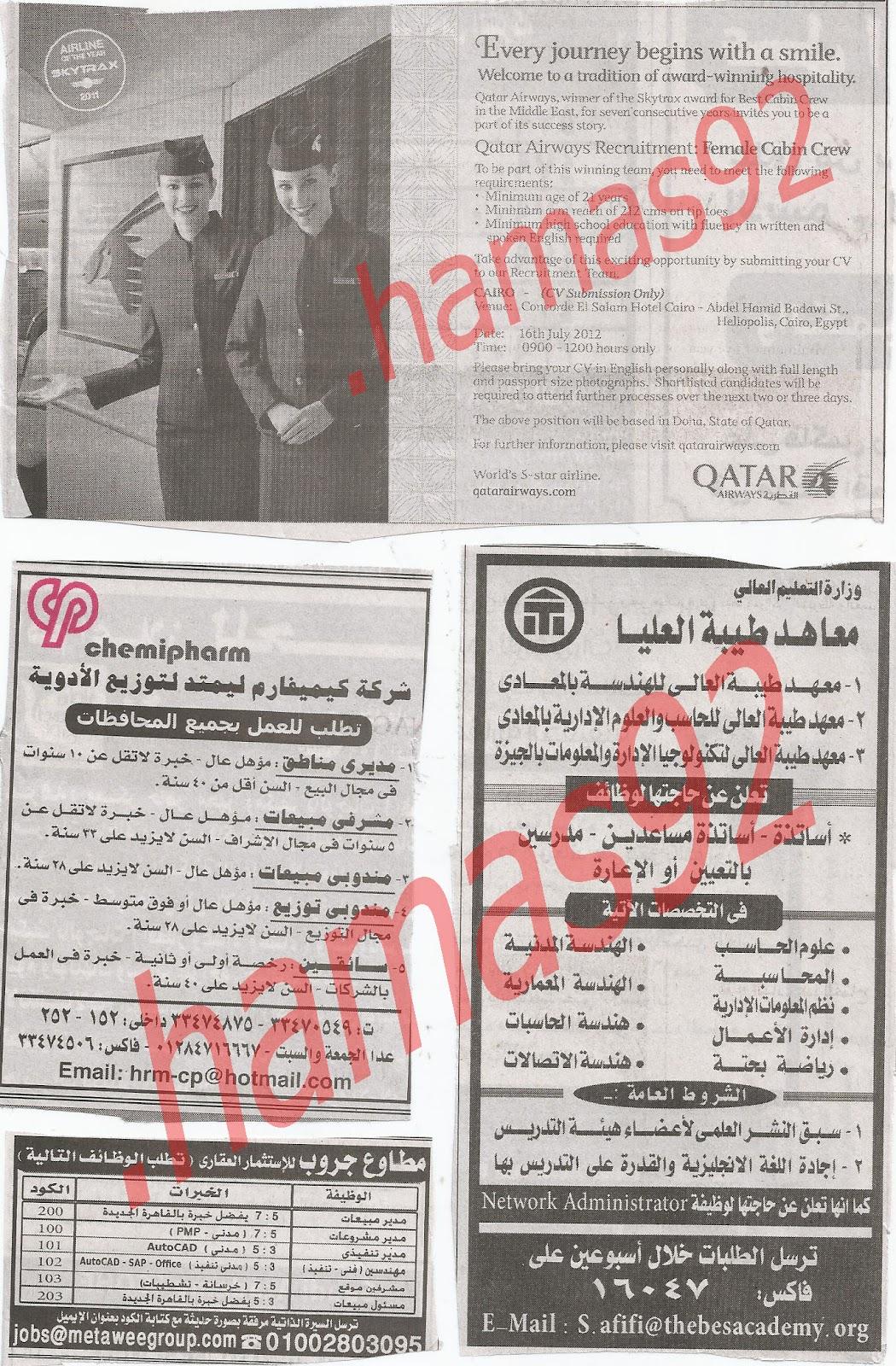 اعلانات وظائف جريدة الاهرام الجمعة 13/7/2012 كاملة - الاهرام الاسبوعى 16