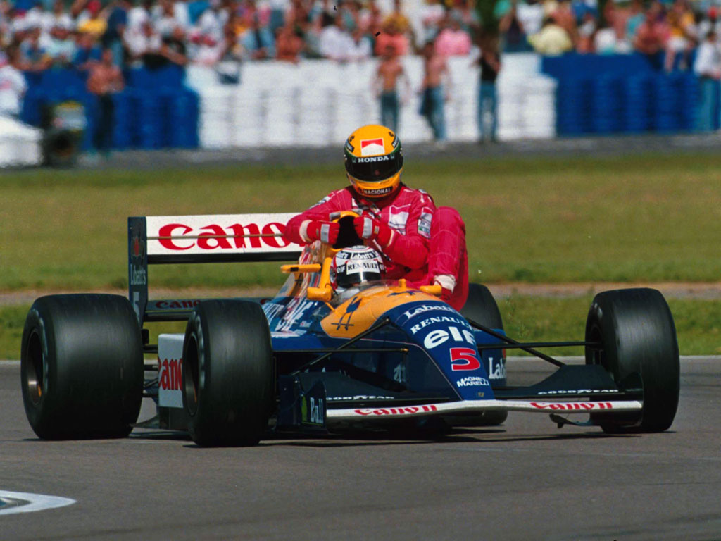 Nigel Mansell BIOGRAFIA Wallpaper-nigel-mansell-gives-ayrton-senna-a-ride