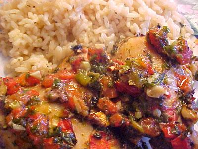 Cuisses de poulet à la coriandre, oignons verts, tomates et ail MVC-003F