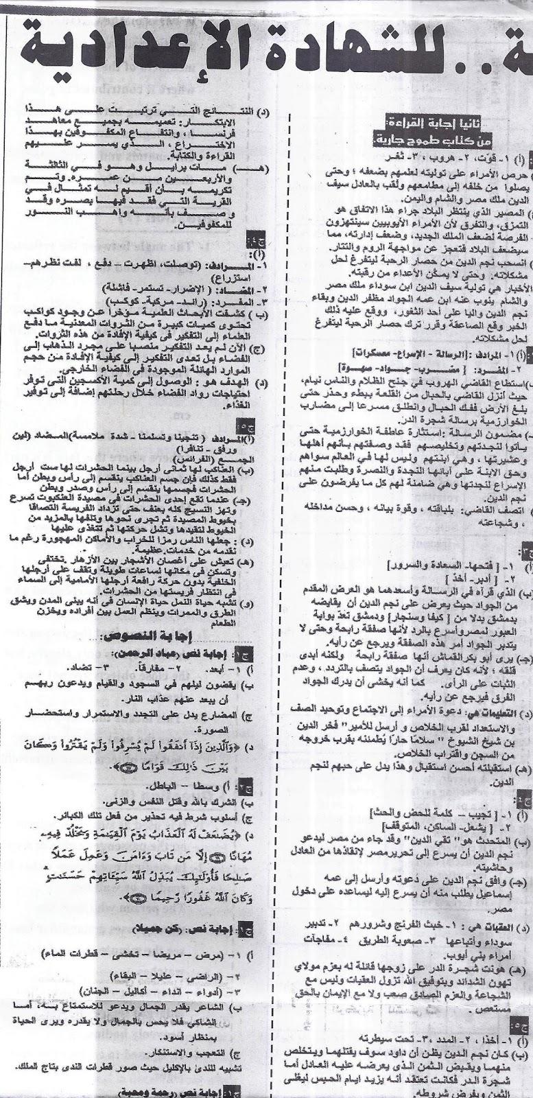 """المراجعة الاخيرة """"لغة عربية"""" ليلة امتحان نصف العام ... للشهادة الاعدادية - ملحق الجمهورية 20/1/2016 10"""