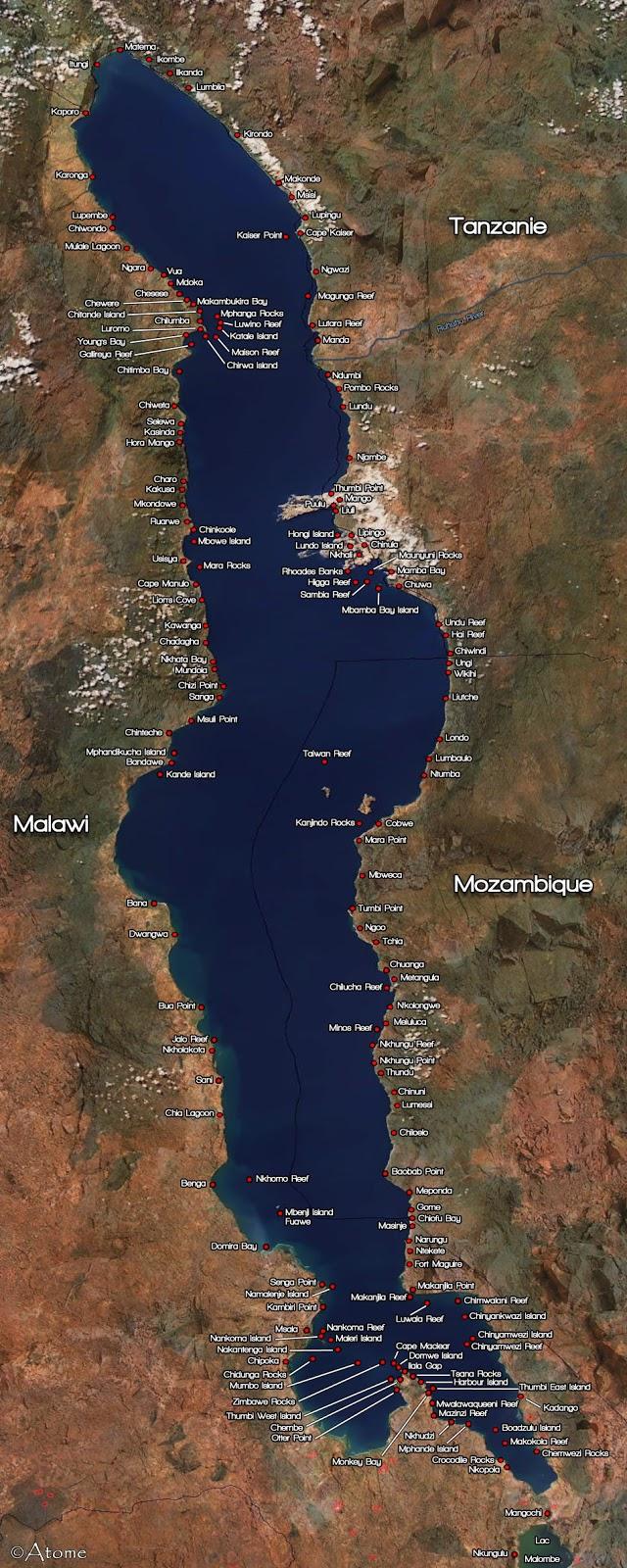 Mapa do Lago Malawi Carte-Mbunas0