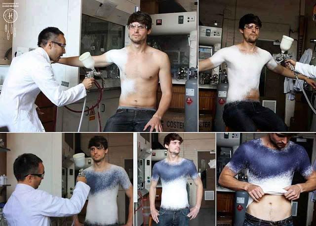 أختراع جديد سيذهل العالم : ملابس بطريقة الرش على الجسم  Ggrr