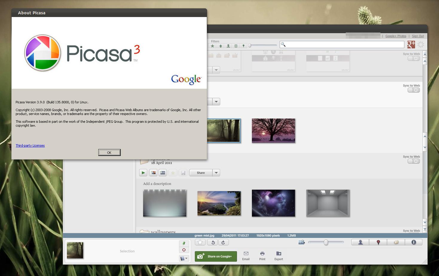 Picasa 3.9 Picasa-3.9-linux-login