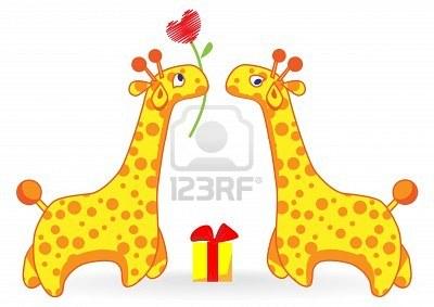 Ternuritas 5147680-dos-dibujos-animados-jirafa-uno-da-el-otro-el-coraz-n-de-una-flor-y-regalos