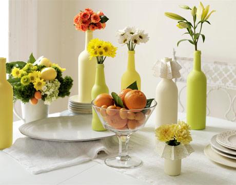 مزهريات أنيقة وعصرية الزخرفية لديكور المنزل Green-vases-citrus-table