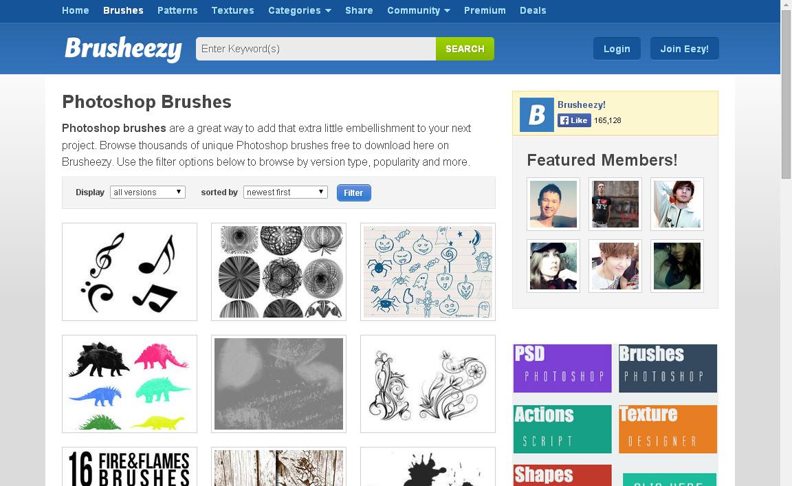 افضل المواقع لتحميل فرش الفوتوشوب Brusheezy