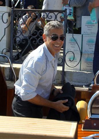 George Clooney and Rande Gerber deliver Casamigos tequila to Venice Corbis-42-50884823