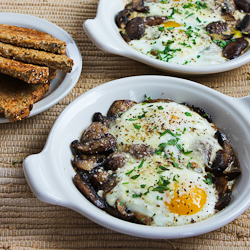 Recipe for Baked Eggs with Mushrooms and Parmesan Baked-eggs-mushrooms-recipe-kalynskitchen