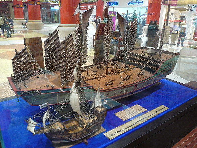 ¿Quién fue el primer europeo en descubrir América?  800px-Zheng_He%27s_ship_compared_to_Columbus%27s