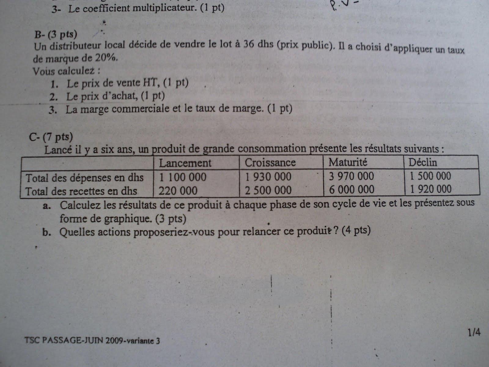 Examen de passage 2009 pratique variante 3 TSC 2