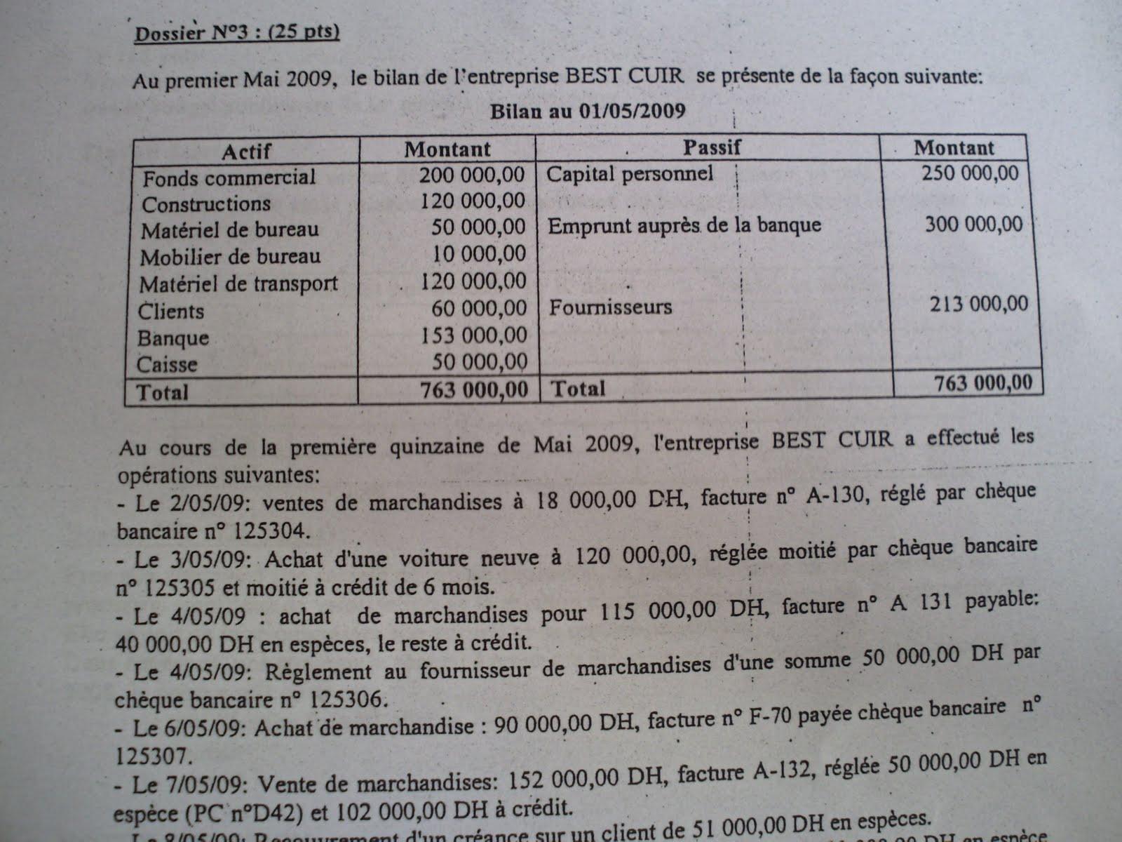 Examen de passage 2009 pratique variante 3 TSC 7