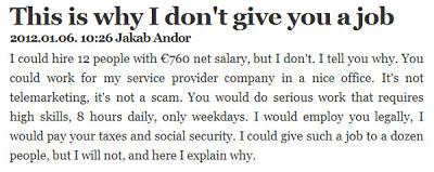 Аз мога да предлагам работа като добър работодател, но не го правя и безработицата още ще расте (Moga da predlagam rabota kato rabotodatel, no bezraboticata raste, zastoto ne go pravia). No-job-rabota_123_pic_00019919