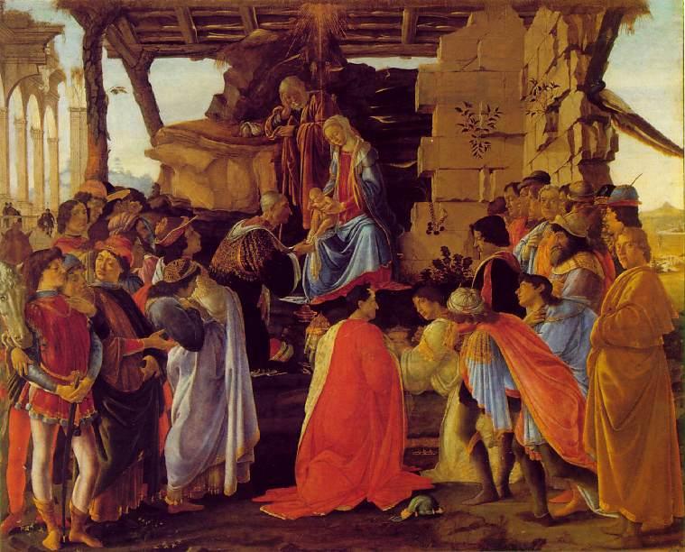 ¿Quiénes son los personajes del cuadro 'La adoración de los Reyes Magos'? Sandro Boticelli, 1475 Adoraciondelosmagos