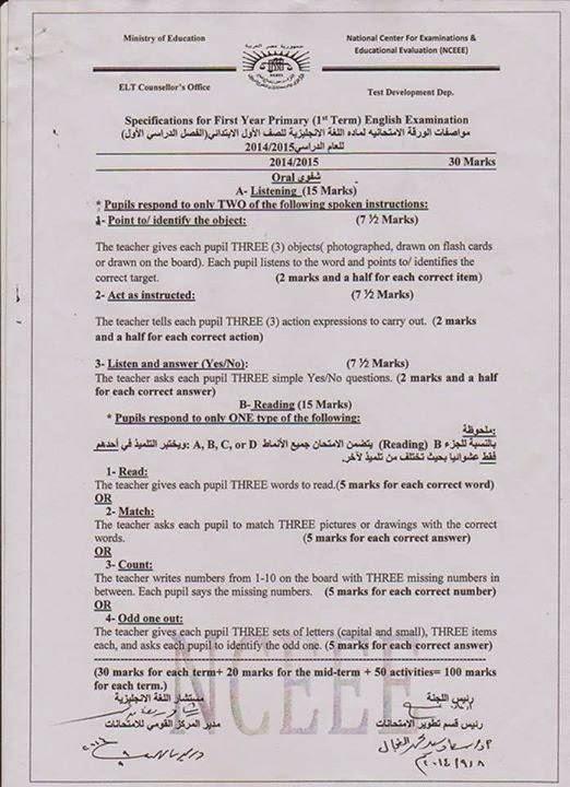 نشر مواصفات الورقة الامتحانية لمنهج Time For English اولى ابتدائى ترم اول 2015 1