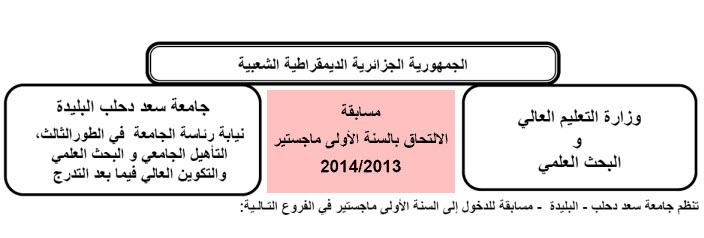 مسابقات الماجستير و الدكتوراه في جامعة سعد دحلب البليدة 2013-2014  001