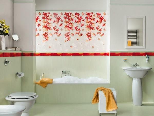 حمامات مجموعة تصميمات جذابة جداً  15-Floral-bathroom-tiles-600x453