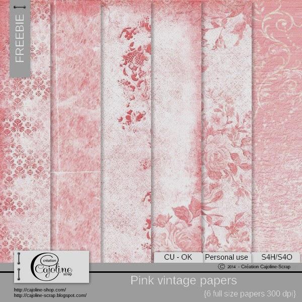 Freebie - Pink vintage papers CU Freebie_cajoline_pinkvintagepaper_cu