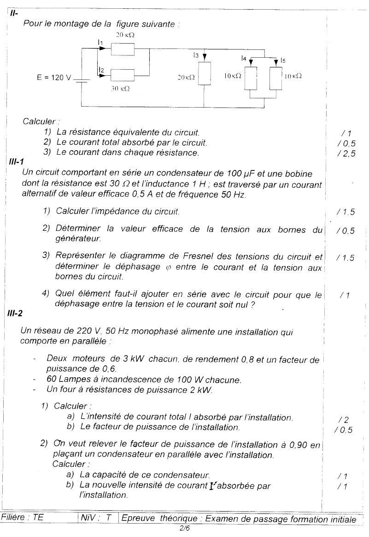 Examen de passage Théorique TEMI 2006 2