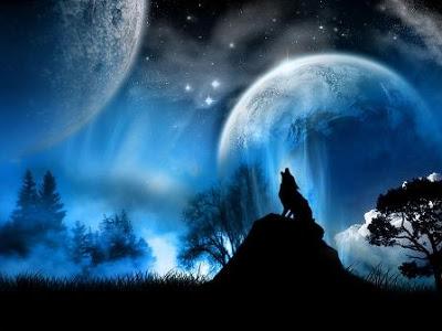 POEMAS SIDERALES ( Sol, Luna, Estrellas, Tierra, Naturaleza, Galaxias...) - Página 5 Lobo-y-luna