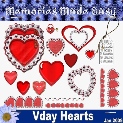 Valentine Heart Embellishments - By: Memories Made Easy MME_Hearts_PREVIEW