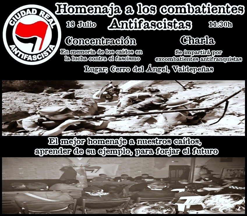Homenaje a los combatientes antifascistas en Valdepeñas (Ciudad Real) Homenaje